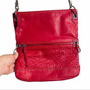 The SAK Red leather fold over convertible purse